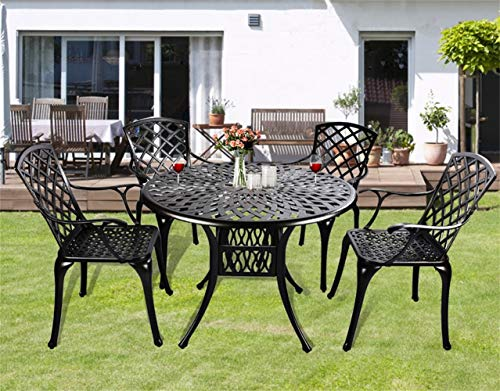 Grepatio 5 Piece All Weather Cast Aluminum Dining Set – 4 Lattice Weave Chairs, 1 Bistro Round Table with Umbrella Hole -Outdoor Furniture Dining Set for Patio, Yard, Garden – Classic Black