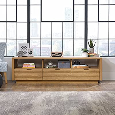 Sauder Soft Modern Entertainment Credenza - Pale Oak - Dimensions: 72W x 19D x 21H in. Clean, naturally finished enclosed storage Particle board and wood laminate - tv-stands, living-room-furniture, living-room - 51xfgVtuF8L. SS400  -