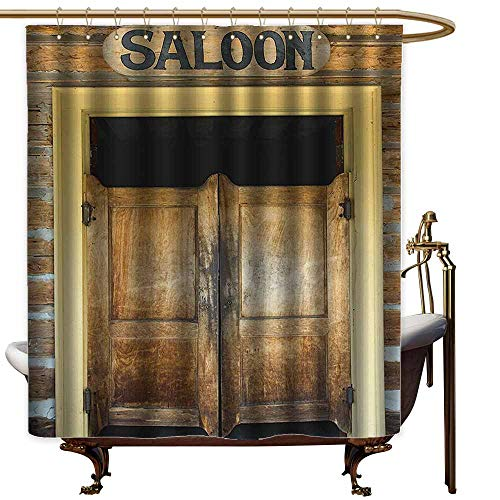 Godves Travel Shower Curtain,Saloon Decor Collection Authentic Saloon Doors of Old Western Building in Montana Ghost Town Image Print,goof Proof Shower,W55x86L,Sienna Cream Brown