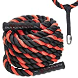 Battle Ropes with Anchor Kit and Nylon Protector Included – Fitness Undulation Rope Exercise – Cross Strength Training – Circuits Workout
