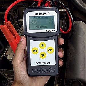 Blueskysea MICRO-200 12V Car Battery Tester Vehicle Digital Analyzer Diagnostic Tool w/ Printing Function EFB/AGM/GEL CCA100-2000, 30-200Ah