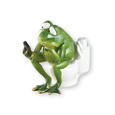 Collections Etc Lounging Bathroom Frog Hand-Painted Novelty Figurine Decor, Toilet
