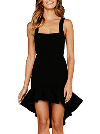 0d23a8eb089 Women s Solid Fashion Sleeveless Low Back Zipper Bodycon Ruffle Hem Party Dress  Black S