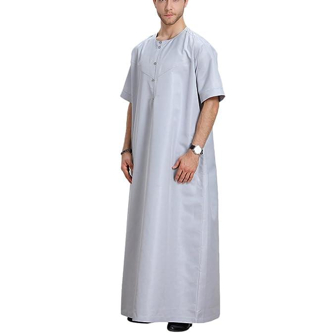 Zhhlinyuan Hombres Casual Fiesta musulmán islámico Solid Color Manga Corta Robes árabe Medio Este Saudi Style Costume: Amazon.es: Ropa y accesorios