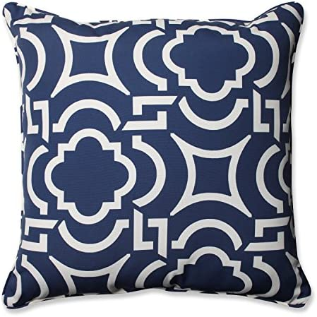 Pillow Perfect Outdoor Indoor Carmody Navy Floor Pillow, 25 x 25 , Blue