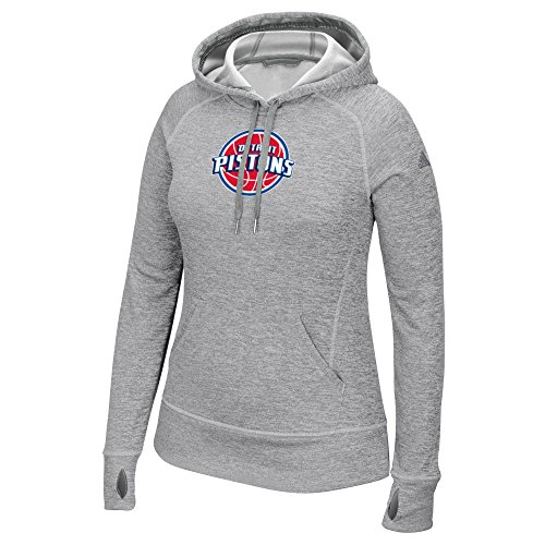 Women's Team Logo Fleece Pullover Hoodie, Large, Gray (Adidas Detroit Pistons Basketball)