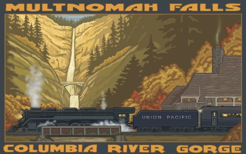 Northwest Art Mall Multnomah Falls Train Horizontal View Unframed Prints by Paul A Lanquist, 11-Inch by - Pacific View Mall