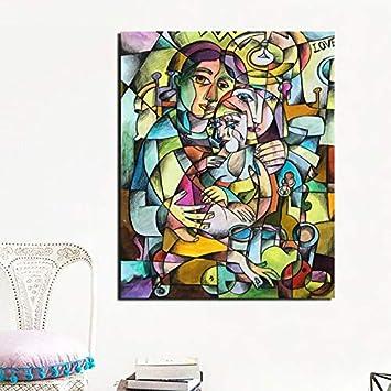 YuanMinglu Pintor Abstracto cubismo Imprimir Lienzo Pintura Sala de Estar decoración del hogar Moderno Arte de la Pared Pintura al óleo póster Cuadro sin Marco Pintura 45x56 cm