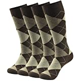 Business Suit Socks, SUTTOS Mens Fashion Argyle Dress Crew Socks,Jacquard Plaid Pattern Charged Cotton Blend Mid Calf Long Tube Crew Gift Dress Socks for Groomsmen Wedding Socks,4 Pairs