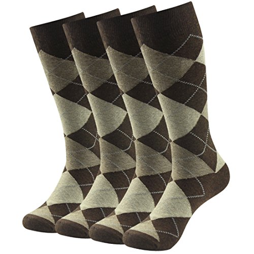 Business Suit Socks, SUTTOS Mens Fashion Argyle Dress Crew Socks,Jacquard Plaid Pattern Charged Cotton Blend Mid Calf Long Tube Crew Gift Dress Socks for Groomsmen Wedding Socks Winter Warm Socks,4 Pairs