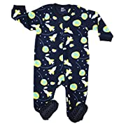 Elowel Baby Boys footed  Space Rocket  pajama sleeper fleece 6-12 Months