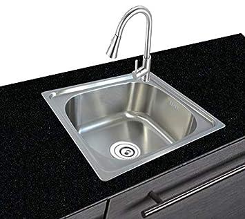 Edelstahl Küchenspüle Eckig Spüle Einbauspüle mit Abtropffläche Spülbecken Küche
