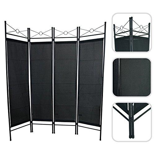 Paravent 4 Rahmen aus schwarzer Leinwand und lackiertem Eisen - bewegliche Trennwand Todeco