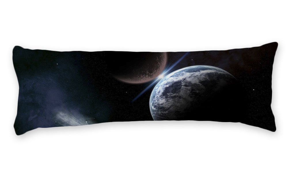 wonbye Pillow Cover Decorative Meteorite Landing Galaxy Pattern, Soft Cotton Pregnancy Machine Washable Body Pillow Cover with Zipper Pillowcase, 20 x 54 Inches