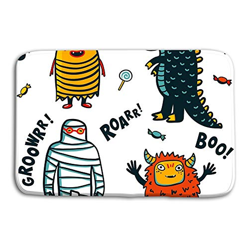 Yugfhj Doormat Indoor Outdoor Halloween Monsters Costumes White Background Cartoon Vector Illustration Halloween Monsters Costumes White Background mat]()