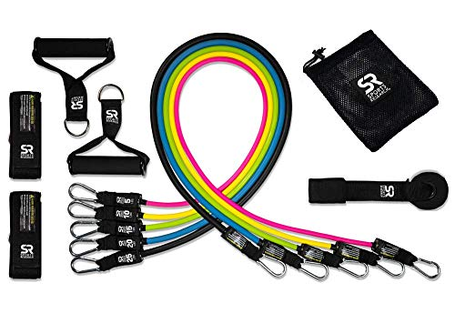 Sports Research Heavy Duty Exercise & Resistance Training Bands (5, 10, 15, 20 & 25 lbs) - Includes Mesh Carrying bag & Workout guide by Sports Research