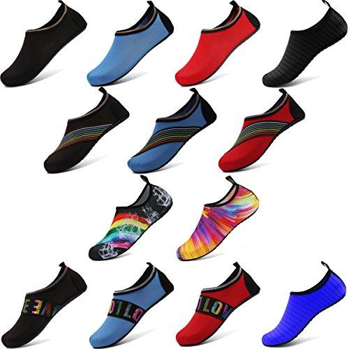 ANLUKE Wassersport Barfuß Schuhe Quick-Dry Aqua Yoga Socken Slip-On Für Männer Frauen Kinder F Orange / Bunt