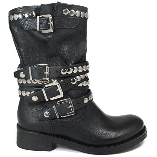 Cinturini In 0266 Nero Biker Donna Stivali Pelle Boots Made Borchiati Vera Personal Italy Shoepper 870qwSI