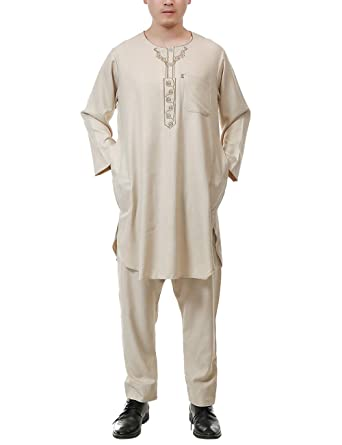 TAAMBAB 2 Piezas Pavo Casual árabe Kaftan Ropa Musulmanes Túnica Traje - Color Puro Hombres Saudí Disfraces Suelto Batas: Amazon.es: Ropa y accesorios
