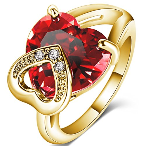 FENDINA Womens Double Love Hearts Wedding Engagement Rings Best Promise Rings for Her - 18K Gold Plated - Created Heart Ruby (Crystal Double Heart Designer)