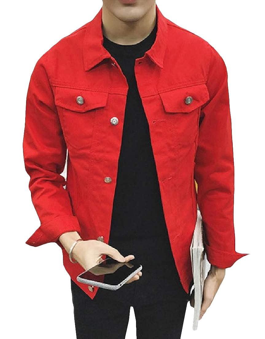Vska Men Denim Solid-Colored Comfort Retro Fashion Coat Jacket