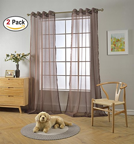 Brown Grommets (Miuco 2 Panels Grommet Textured Solid Sheer Curtains 84 Inches Long for Bedroom (2 x 54