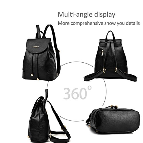 Bag Schoolbag PU Black Backpack Daypack shoulder amp;Doris Fashion Girl Travel Sapphire Leisure New Nicole Leather w8zqtq