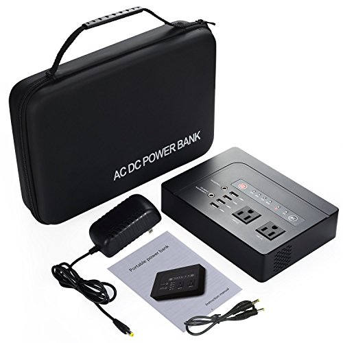 AC Power Bank, Gichee 42000mAh 200W(Max) Portable Lithium Power Supply Emergency Backup with DC USB 2 AC Outlet External Battery Pack for MacBook, Surface, Laptops, Tablets, Phones and Appliances