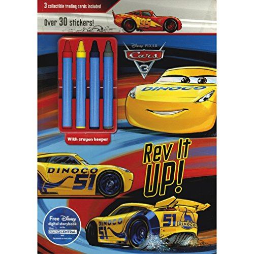 Disney Pixar Cars 3 Rev It Up!: 3 Collectible Trading Cards Included (Color & Activity With Crayons)