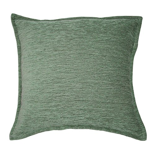 McAlister Textiles Plain Chenille | Solid Pillow Cover Sham in Duck Egg Blue | Square 16x16 Inches | Zippered Decorative Throw Cushion Sham | Couch & Bed Accent, Essential Modern Home Decor