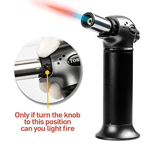 JamBer Chef Blow Torch Culinary Butane Torch Refillable Cooking Torch Kitchen Handheld Torch with Safety Lock&Adjustable Flame Lighter for Crème Brulee,Camping,Searing,Soldering,Grey,Gas Not Included by JamBer (Image #4)