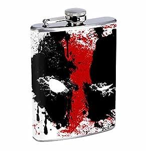 Deadpool Spatter 8oz Stainless Steel Flask Drinking Whiskey