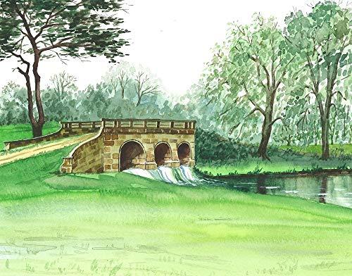 11X14 PRINT OF PAINTING RYTA STONE BRIDGE GREAT BRITAIN ENGLAND UNITED KINGDOM EUROPE PARK DAM SPRING SUMMERE GREAT BRIT