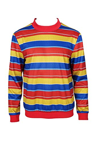 Rainbow Stripe Shirt Halloween Cosplay Long Sleeve Tee Shirt Mens L]()