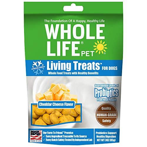 Whole Life Pet Probiotic Dog Treats Cheddar Cheese Blended with Probiotics to Promote Healthy Digestion, Protein from USDA Certified Chicken, 3 Ounce