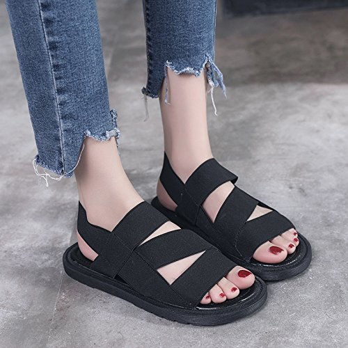 GAOLIM Bizcochuelo Correa Transversales Gruesas Sandalias Sandalias De Verano Mujer Zapatos Planos Sandalias De Fondo Plano Negro