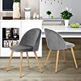 HOMY CASA Set of 2 Patio Dining Room Chairs Pineapple Velvet Pattern Seat Pad Wood Leg with Cap Knock Down Design,Grey, L18.5*W18.5*H30.5