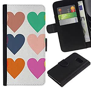 All Phone Most Case / Oferta Especial Cáscara Funda de cuero Monedero Cubierta de proteccion Caso / Wallet Case for Samsung Galaxy S6 // Hearts Love Teal Purple Orange White