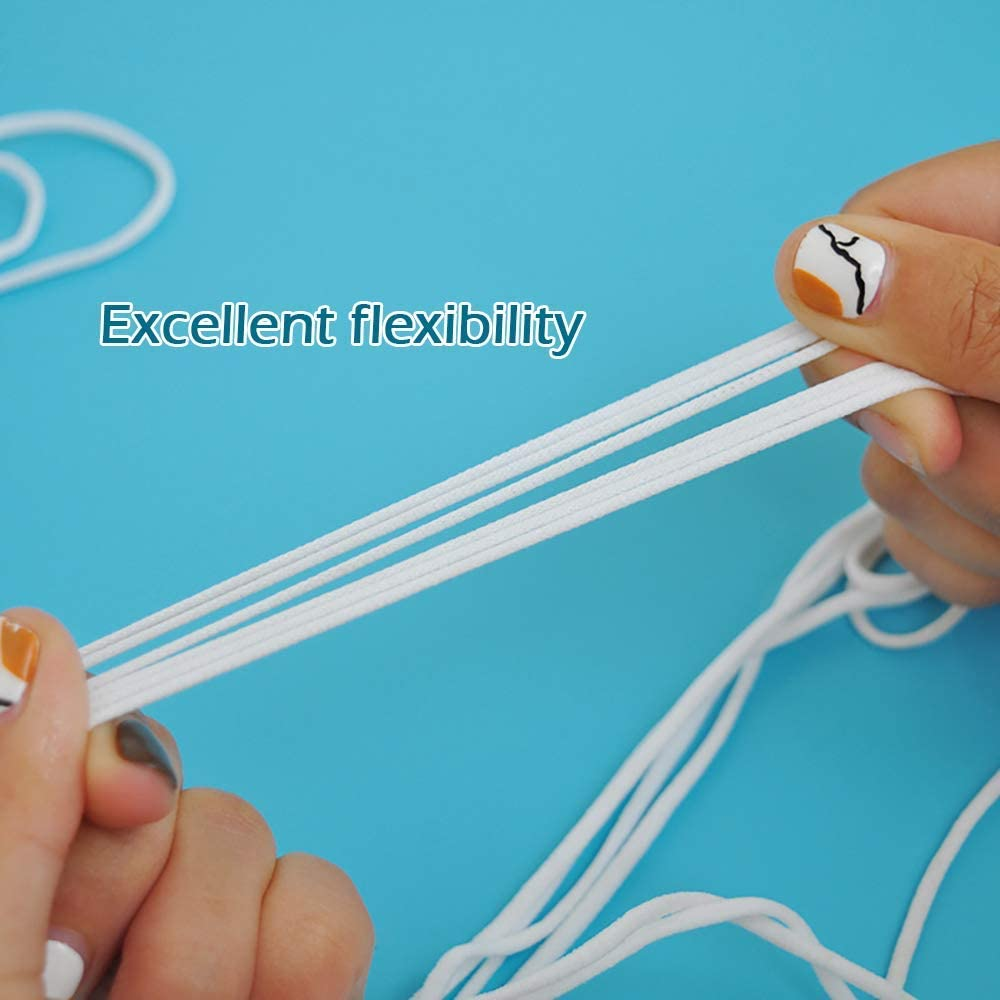 11 Yard 1//8 Inch Elastic Strap Earloop Cord Round Ear Tie Rope Handmade String Stretchy Rope for Crafts DIY Sewing 3mm