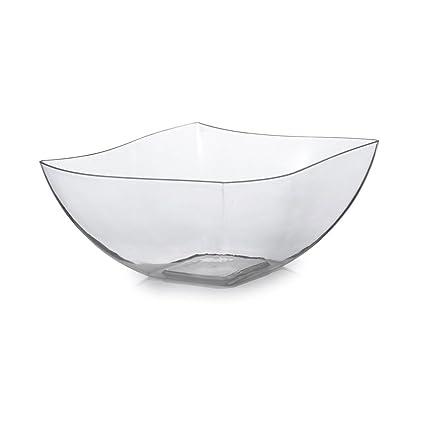 Elegante cuencos cuadrados con forma de onda china como platos de plástico duro – transparente –