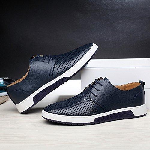 Casuales Boda Negocios Cuero Los Navy 1 Vestir Hombres Bazhahei Moda Color Sólido De Zapatos Planos Zapatillas Hombre Para wUBz8Yq