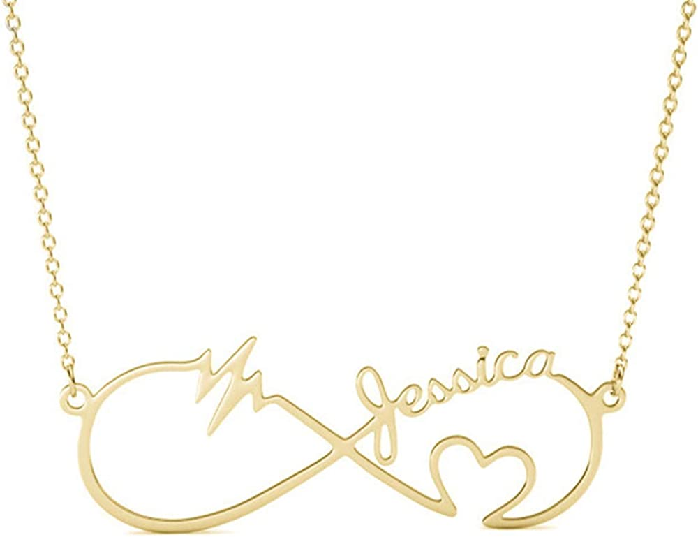 Infinity Heart Necklace 14k White Gold Finish Personalized Name Unique Gifts Store Happy Birthday Beulah