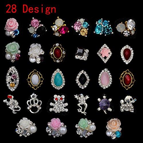WellieSTR LOT OF 28 Design 3d Diamond Alloy Rhinestone Na...