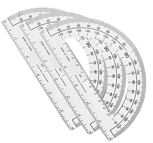 180 Degree Protractor - 1InTheOffice Clear 180 Degree Protractor, Plastic, 6