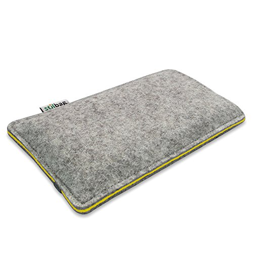 Stilbag Filztasche 'FINN' für Apple iPhone 5 - Farbe: hellgrau/gelb