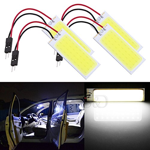 ToAUTO 4-Pack Car Interior Bulbs 36 LED COB Super Bright Dome Lights Reading Door Light Panel Lights With T10 BA9S C5W Adapter 6W White