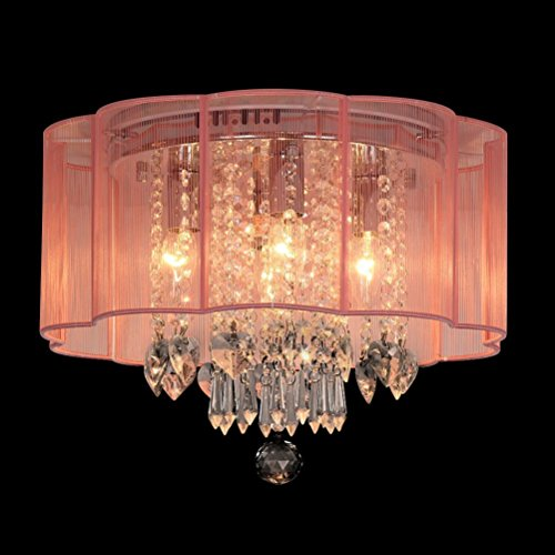 Dst Modern Chandelier Pink Shade Flush Mount Crystal Ceiling Light Lamp with 4 Lamp for Living Room, Bedroom or Study Room D16h13