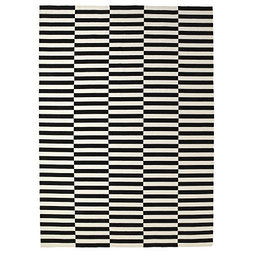Ikea Rug, flatwoven, black handmade stripe, off-white stripe black/off-white 8 '2 ''x11 ' 6 '' 2024.2118.2218 by Ikea