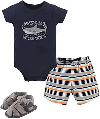 Hudson Baby Cotton Bodysuit, Bottoms and Shoe Set