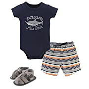 Hudson Baby Baby Cotton Bodysuit, Shorts and Shoe 3 Piece Set, Shark, 0-3 Months